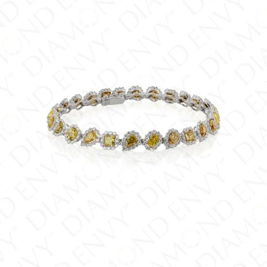 9.70 Carat Fancy Yellow Diamond Bracelet in 18K Two-Tone Gold