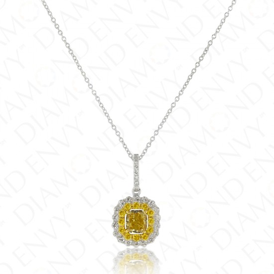 1.20 Carat Fancy Yellow Diamond Pendant in 18K Two-Tone Gold
