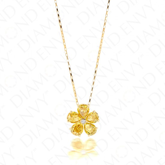 1.33 Carat Fancy Yellow Diamond Pendant in 18K Yellow Gold