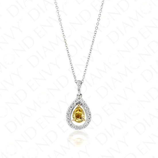 0.74 Carat Fancy Vivid Brownish Greenish Yellow Diamond Pendant in 18K Two-Tone Gold
