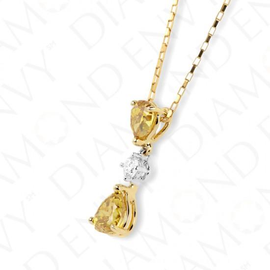 Double Yellow Diamond Drop Pendant