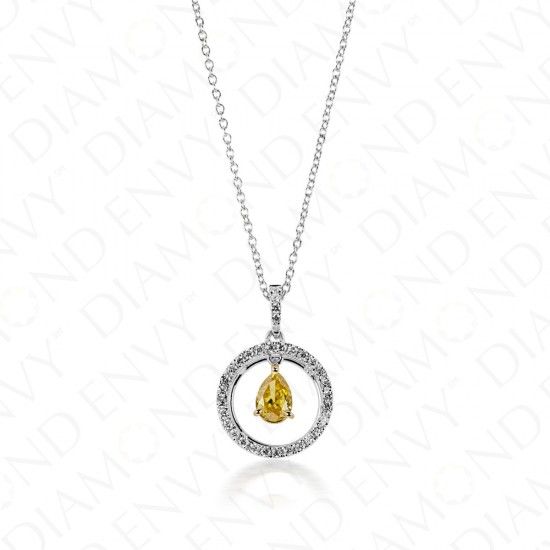 0.54 Carat Fancy Colored Diamond Pendant in 18K Two-Tone Gold