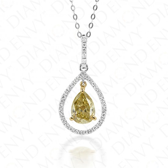 1.33 Carat Fancy Greenish Yellow Diamond Pendant in 18K Two-Tone Gold