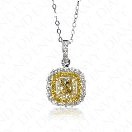 1.46 Fancy Light Yellow Diamond Pendant in 18K Two-Tone Gold