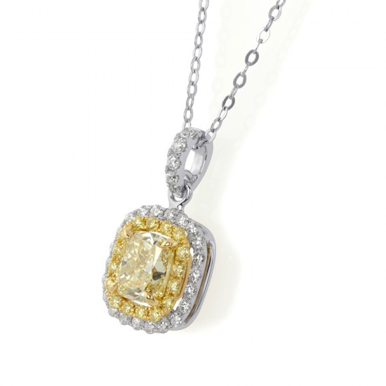 1.59 Carat Fancy Light Yellow Diamond Pendant in 18K Two-Tone Gold