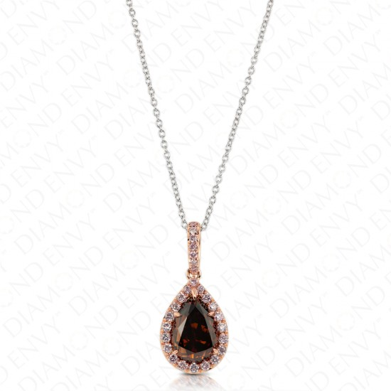 Teardrop Chocolate Diamond Pendant with Pink Diamond Halo
