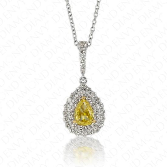 Vivid Yellow Diamond Flower Petal Pendant