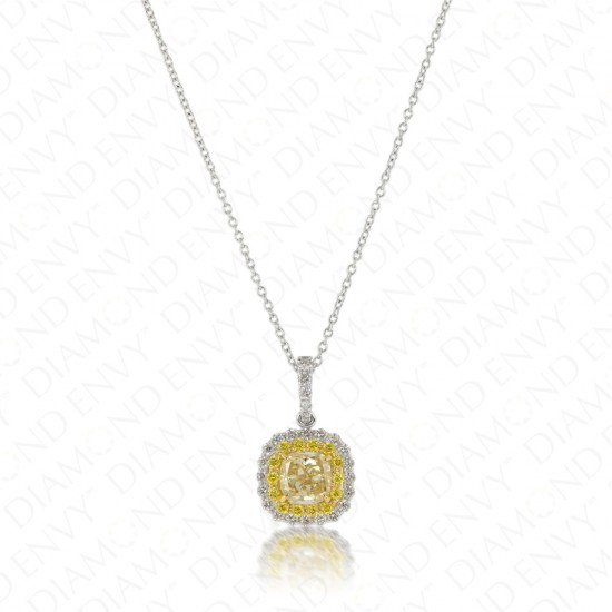 1.39 Carat Fancy Light Yellow Diamond Pendant in 18K Two-Tone Gold