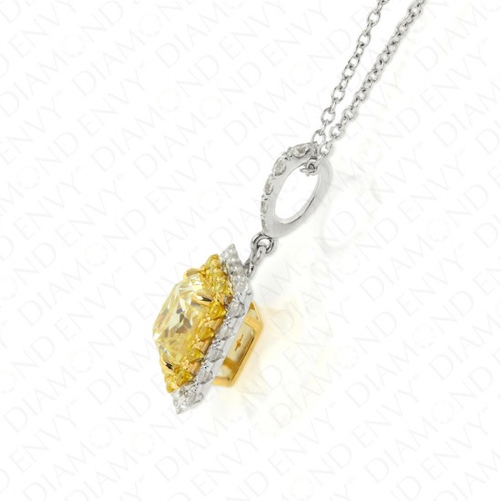 1.99 Carat Fancy Light Yellow Diamond Pendant in 18K Two-Tone Gold
