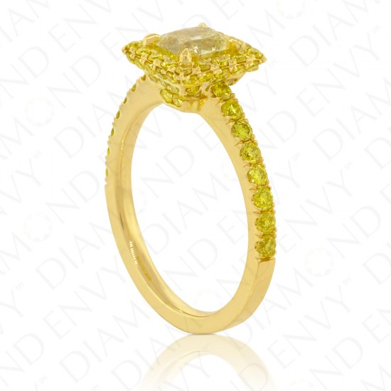 1.74 Carat Fancy Yellow Diamond Ring in 18K Yellow Gold