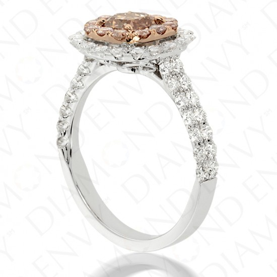 1.90 Carat Fancy Pink-Brown Diamond Ring in 18K Two-Tone Gold