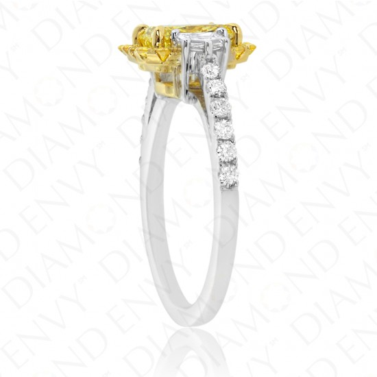 2.20 Carat Fancy Intense Yellow Diamond Ring in 18K Two-Tone Gold