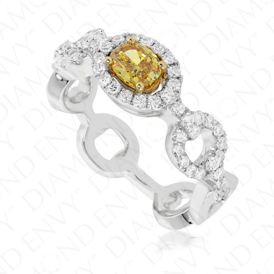 Yellow Diamond Chain Link Ring