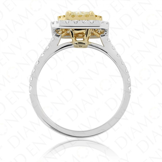 1.71 Carat Fancy Light Yellow Diamond Ring in 18K Two-Tone Gold