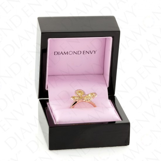 3.36 Carat Fancy Intense Yellow Diamond Ring in 18K Two-Tone Gold