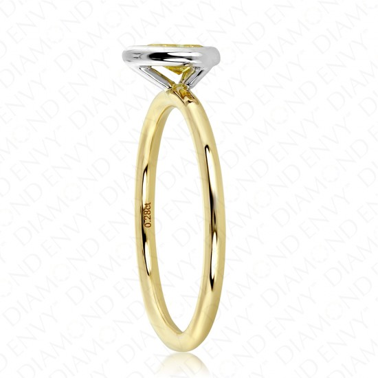 0.29 Carat Fancy Vivid Yellow Diamond Ring in 18K Two-Tone Gold