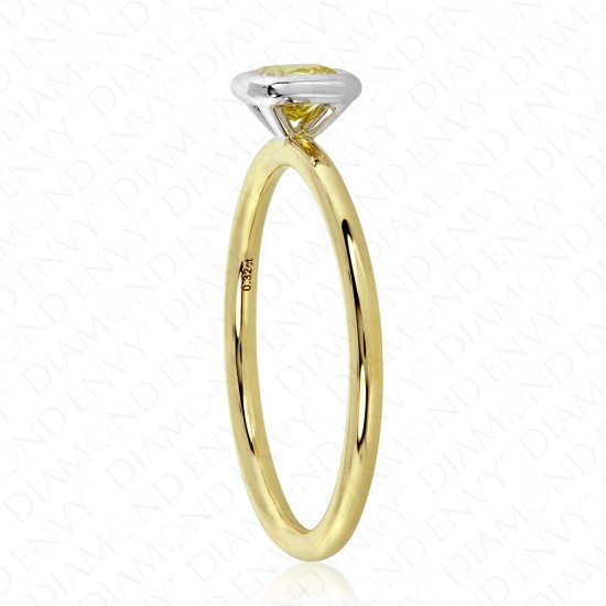 0.32 Carat Fancy Intense Yellow Diamond Ring in 18K Two-Tone Gold