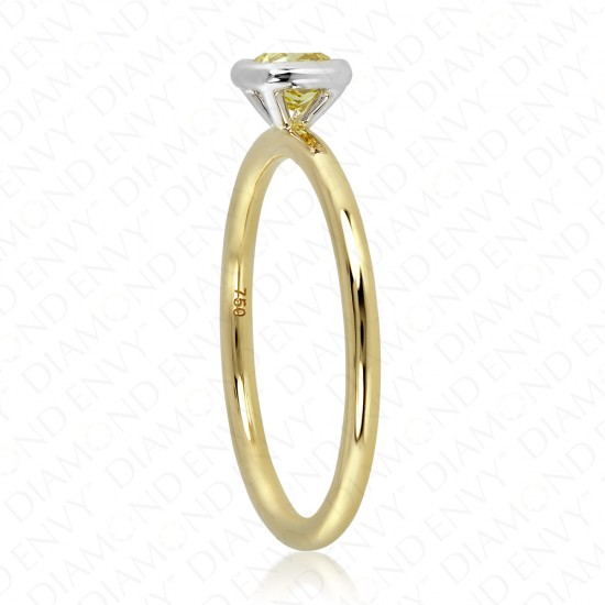 0.35 Carat Fancy Deep Yellow Diamond Ring in 18K Two-Tone Gold