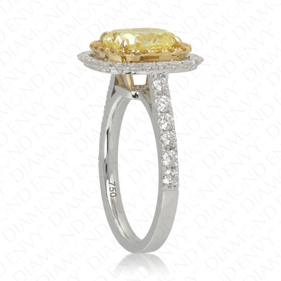 3.53 Carat Y to Z Range Yellow Diamond Ring in 18K Two-Tone Gold