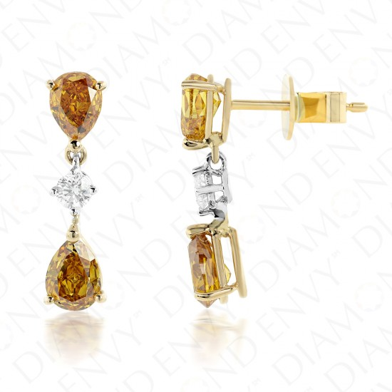2.03 Carat Fancy Colored Diamond Earrings in 18K Two-Tone Gold