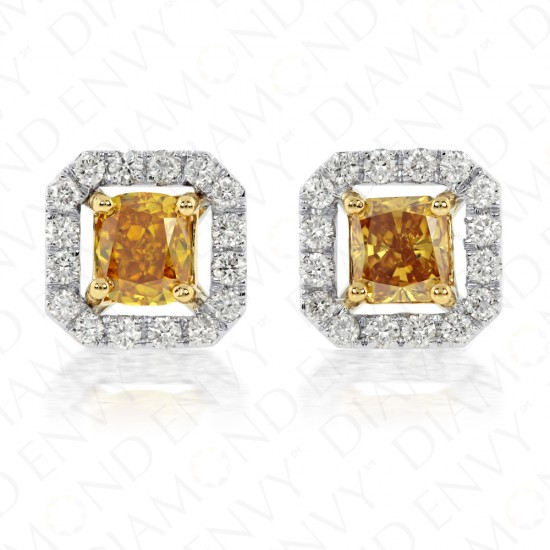 1.25 Carat Fancy Colored Diamond Earrings in 18K Two-Toned Gold