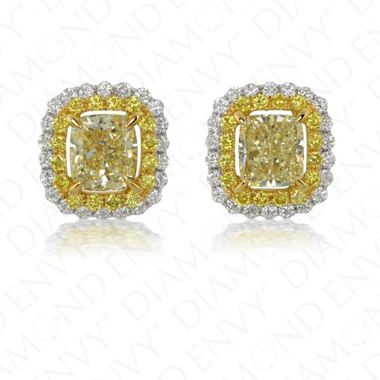 3.09 Carat Fancy Light Yellow Diamond Earrings in 18K Two-Tone Gold