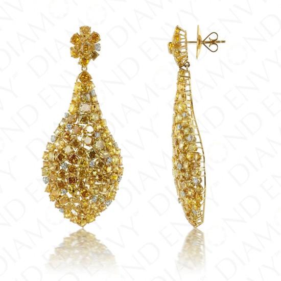 40.54 Carat Fancy Yellow Diamond Earrings in 18K Two-Tone Gold