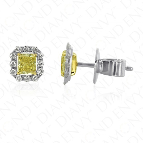 Yellow Diamond Stud Earrings with Diamond Halos