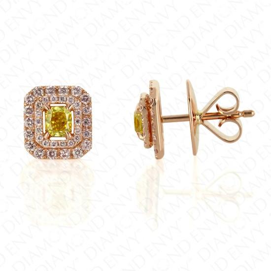 Vivid Yellow Diamond Studs with Double Pink Diamond Halo