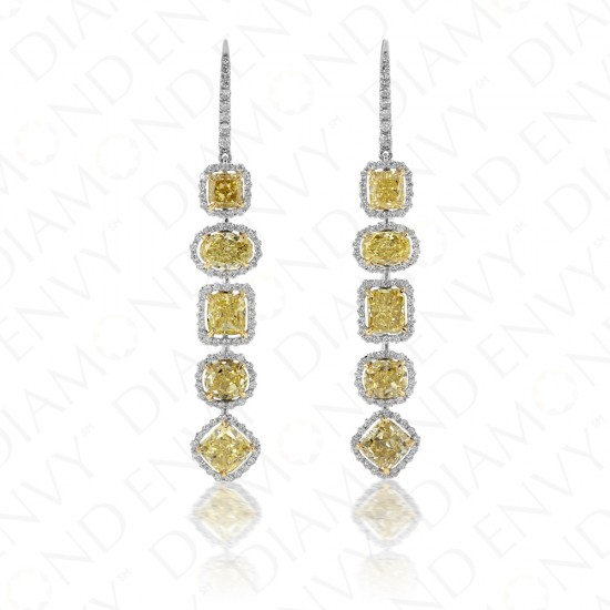 7.02 Carat Fancy Intense Yellow Diamond Earrings in 18K Two-Tone Gold