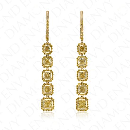 4.17 Carat Fancy Vivid Yellow Diamond Earrings in 18K Yellow Gold