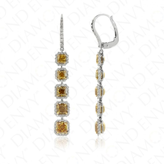 3.89 Carat Fancy Deep Yellow Diamond Earrings in 18K Two-Tone Gold