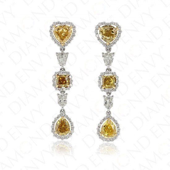 3.65 Carat Fancy Yellow Diamond Earrings in 18K Two-Tone Gold
