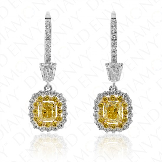 2.10 Carat Fancy Vivid Yellow Diamond Earrings in 18K Two-Tone Gold