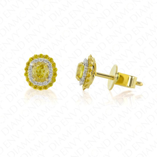 0.92 Carat Fancy Vivid Yellow Diamond Earrings in 18K Two-Tone Gold