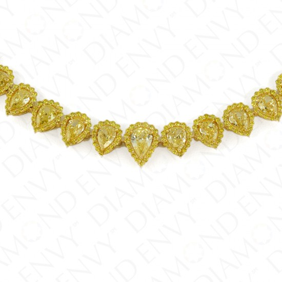 25.42 Carat Fancy Yellow Diamond Necklace in 18K Two-Tone Gold