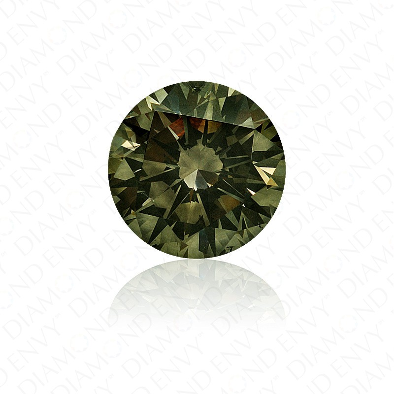 2.25 Carat Round Brilliant Natural Fancy Dark Grey-Yellowish Green Diamond