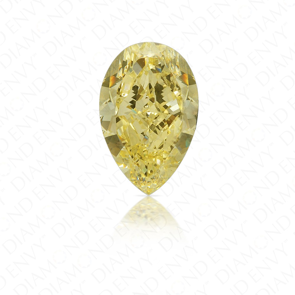 5.61 Carat Pear Shape Fancy Yellow Diamond