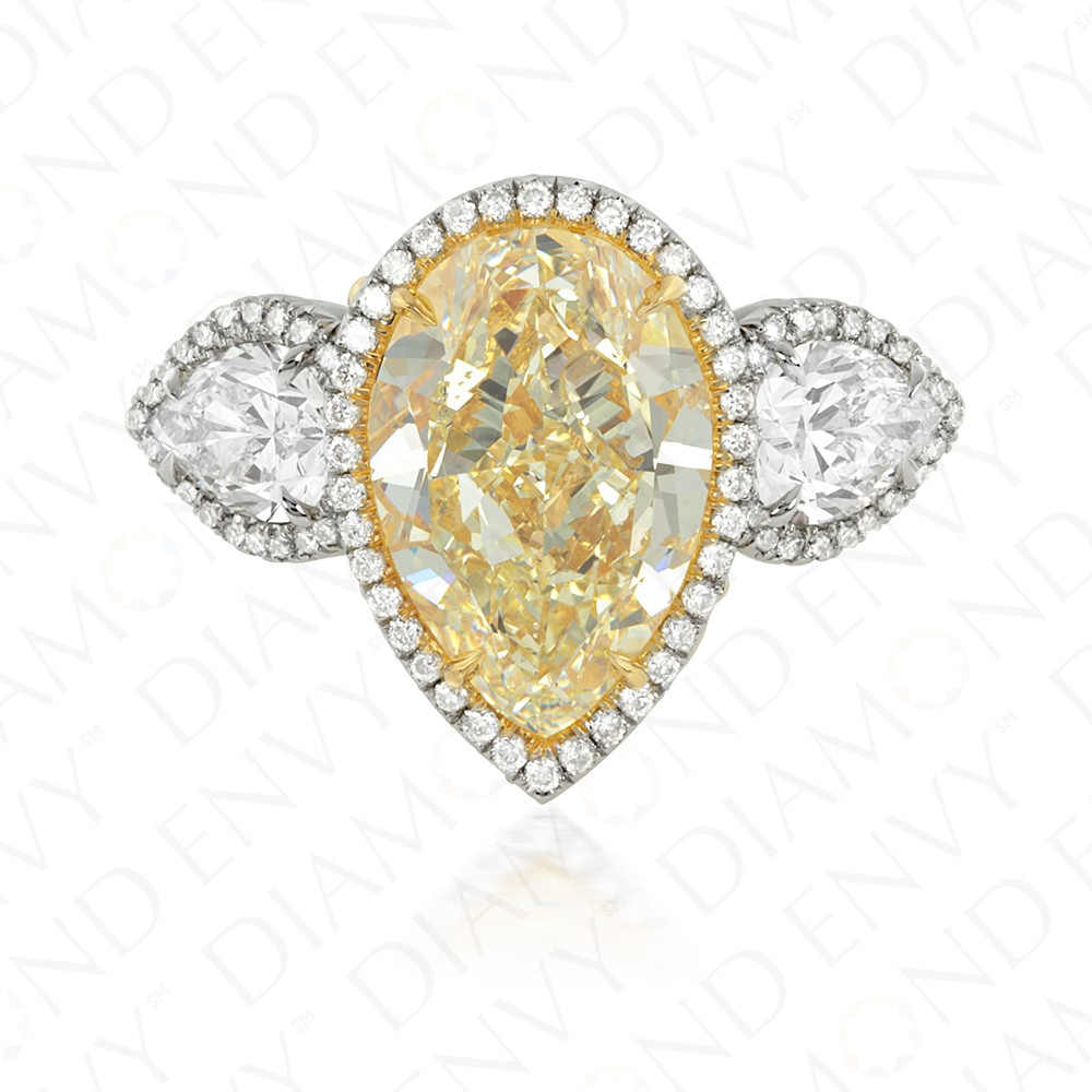 7.76 Carat Fancy Yellow Diamond Ring in Platinum/18K Gold