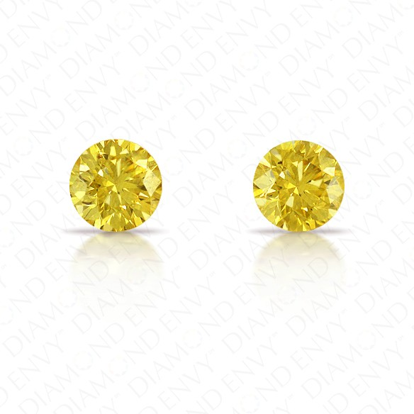 0.57 Total Carat Weight Round Brilliant Pair of Fancy Intense Yellow Diamonds