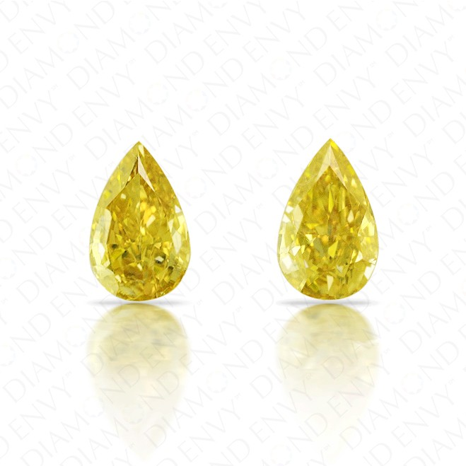 0.97 Total Carat Weight Pear-Shaped Pair of Fancy Vivid Greenish Yellow Diamonds