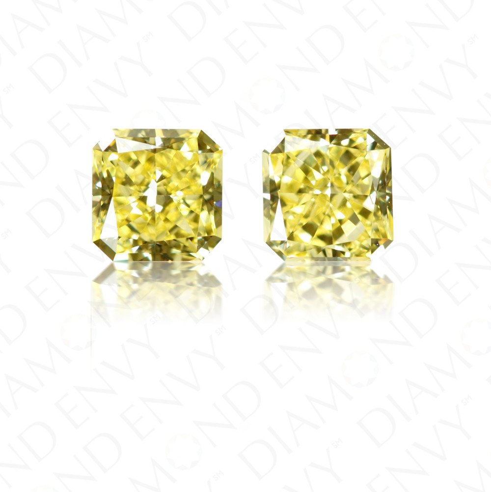 0.72 ct. tw. Radiant Cut Pair of Natural Fancy Intense Yellow Diamonds