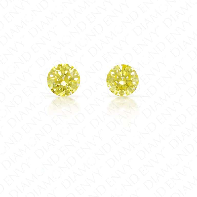 0.42 ct. tw. Round Brilliant Pair of Natural Fancy Light Yellow Diamonds