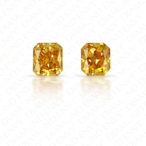 0.33 Total Carat Weight Radiant Cut Pair of Fancy Deep Yellowish Orange Diamonds