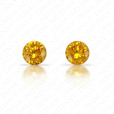 0.20 Total Carat Weight Round Brilliant Pair of Fancy Deep Yellowish Orange Diamonds