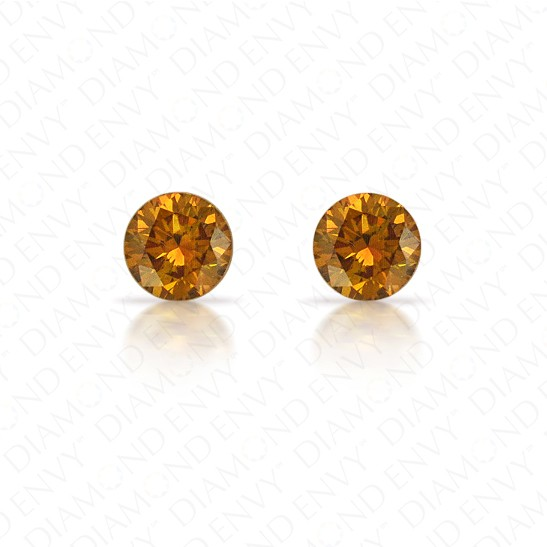 0.32 Total Carat Weight Round Brilliant Pair of Fancy Deep Brownish Orangey Yellow Diamonds