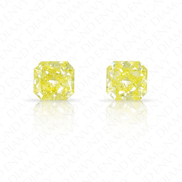 0.76 Total Carat Weight VVS2/VS1 Radiant Cut Pair of Fancy Yellow Diamonds