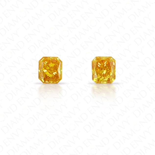 0.39 Total Carat Weight Radiant Cut Pair of Fancy Deep Orangey Yellow Diamonds