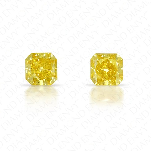 0.38 Total Carat Weight Radiant Cut Pair of Fancy Deep Yellow Diamonds