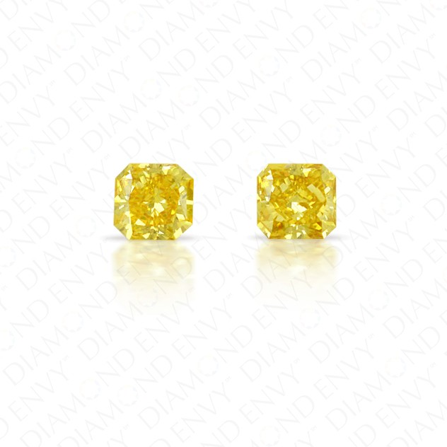 0.46 Total Carat Weight Radiant Cut Pair of Fancy Vivid Orangey Yellow Diamonds